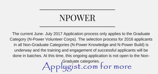 Npower Teach application page opens