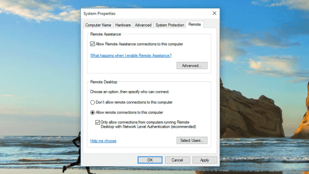 Remote Desktop Connection in Windows 10