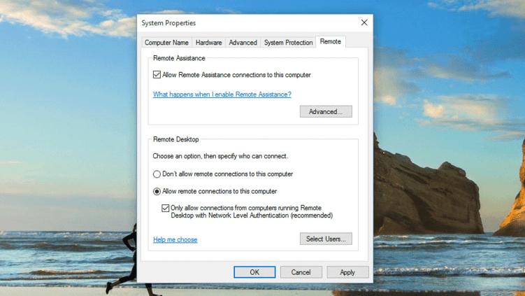 Remote Desktop Connection in Windows 10