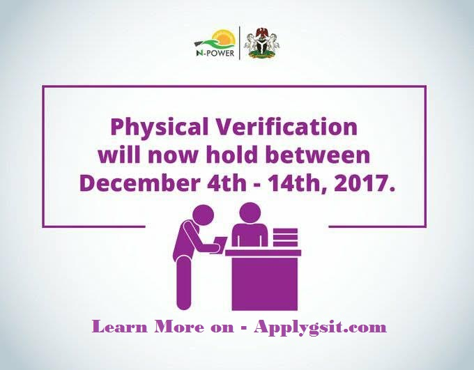 Npower Physical Verification 2017 Date