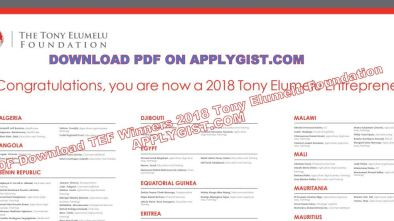 PDF TEF 2018 WINNERS LIST