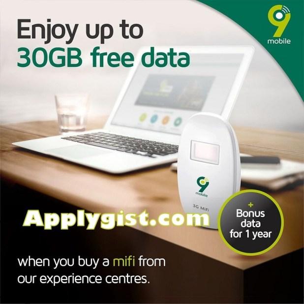 Enjoy 30GB FREE Data Buy 9Mobile Mifi