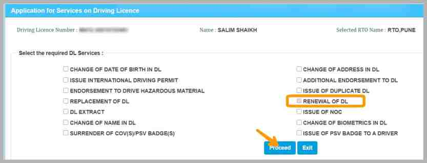 renewal of drivers license online in india