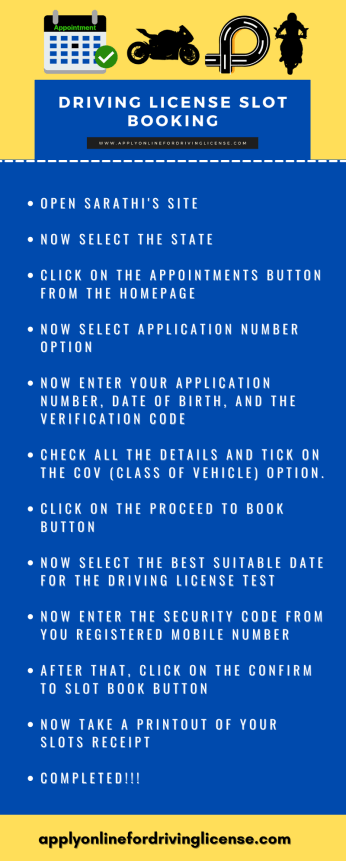 appointment for driving licence in india
