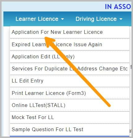 learning licence apply online menu bar