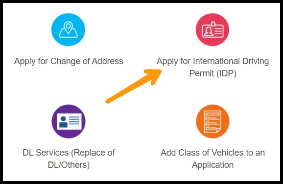 clicking on the international driving permit button on the homepage of sarathi parivahan sewa