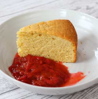 Madeira Cake with Rhubarb and Strawberry Compote.
