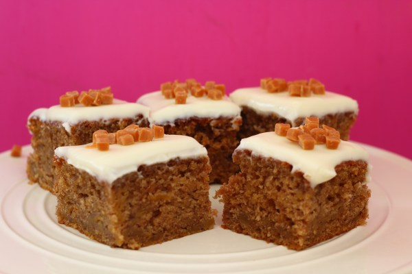 Spiced Pumpkin Traybake with Cream Cheese Icing.