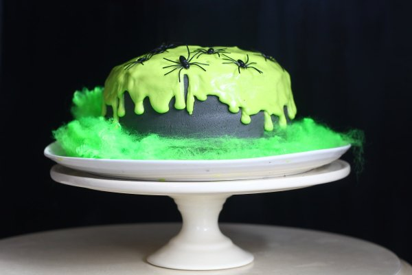 "Chocolate Cake covered with green ""slime"" icing."