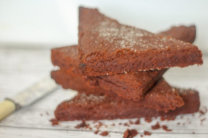 Triangles of chocolate shortbread
