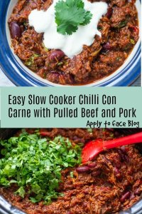 pin for slow cooker chilli con carne with pulled pork and beef.