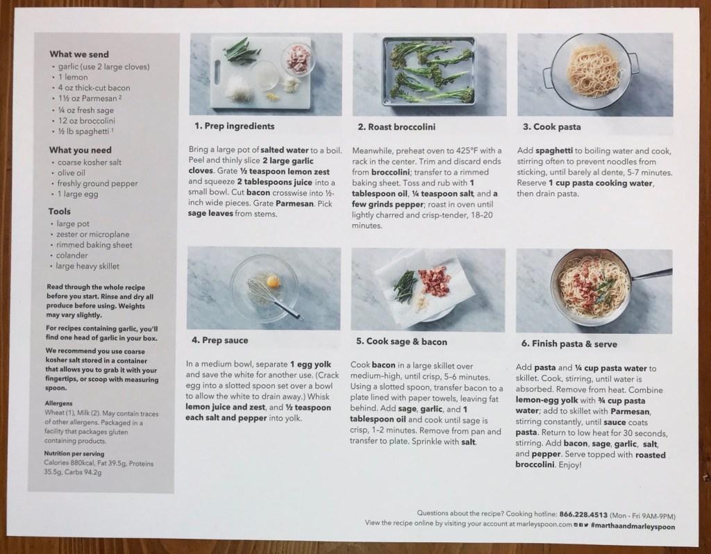 Martha & Marley Spoon Lemony Carbonara Recipe