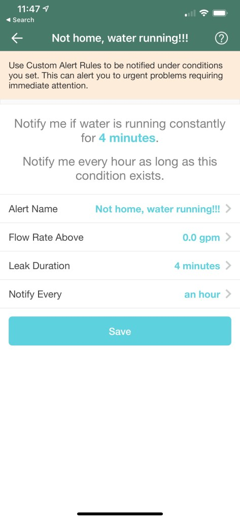 Flume Water Leak Detector Not Home Alert