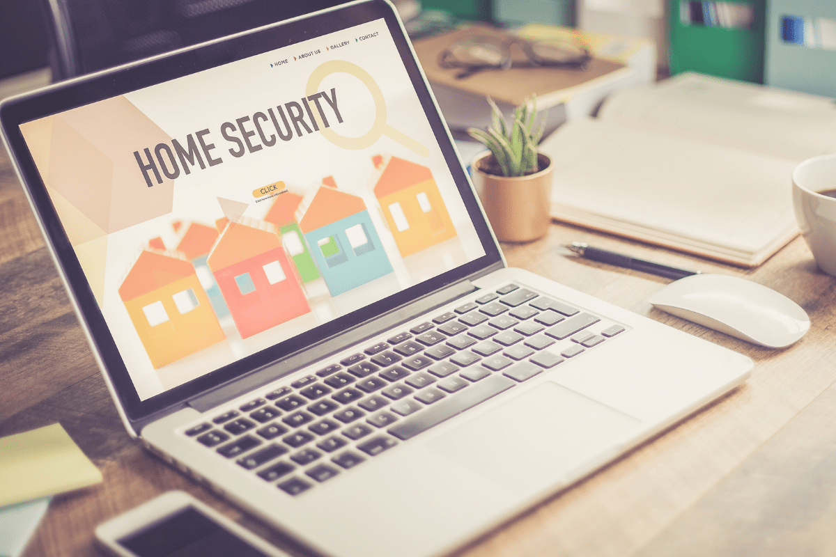 Home Security on Laptop