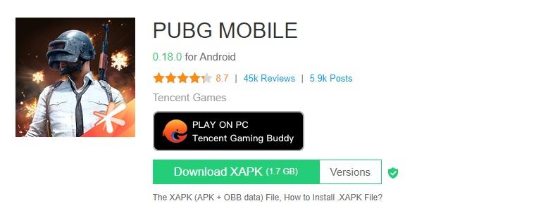لعبة ببجي بامتداد XAPK