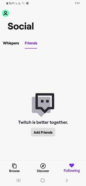 Friends في رسائل تطبيق twitch