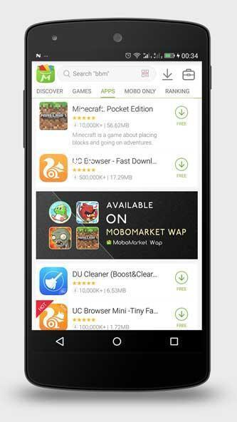 التطبيقات على برنامج موبو ماركت للاندرويد