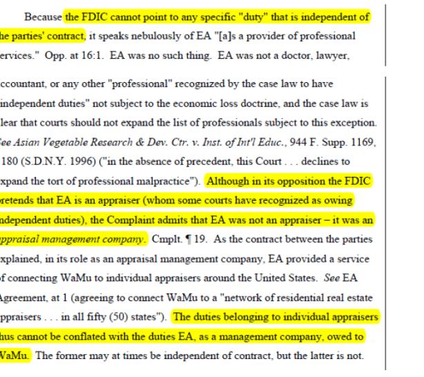 Update on FDIC v. CLGX - CoreLogic - eAppraiseIT