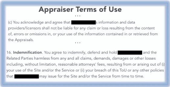 Appraiser Terms of Use