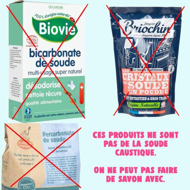 Produits qui ne sont pas de la soude caustique pour faire son savon.