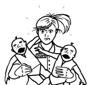 Bébé bassine la baby-sitter