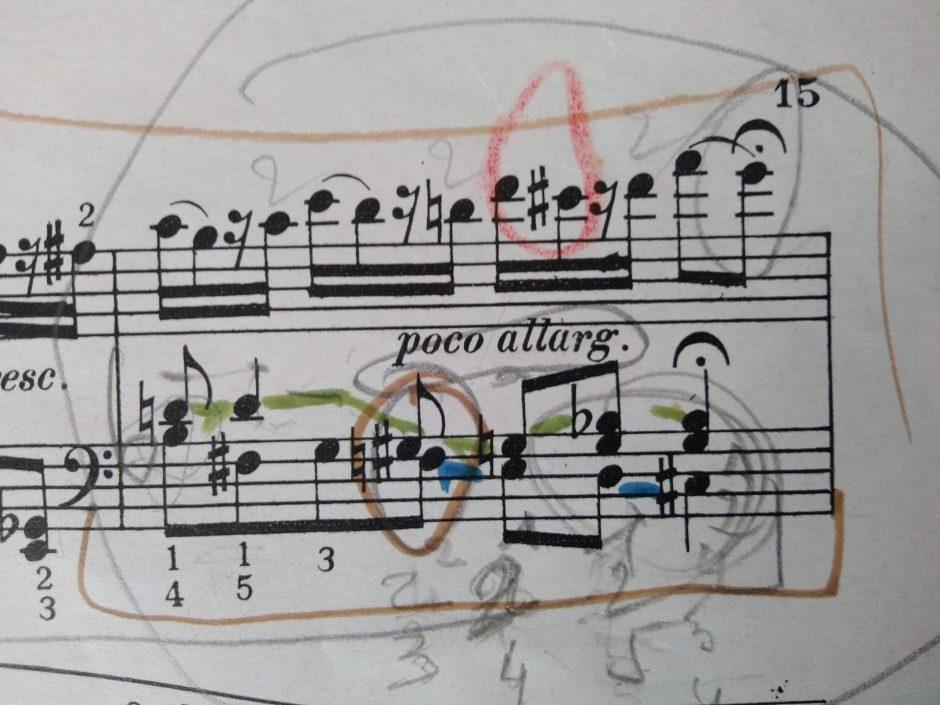 Écrire sur sa partition pianistique