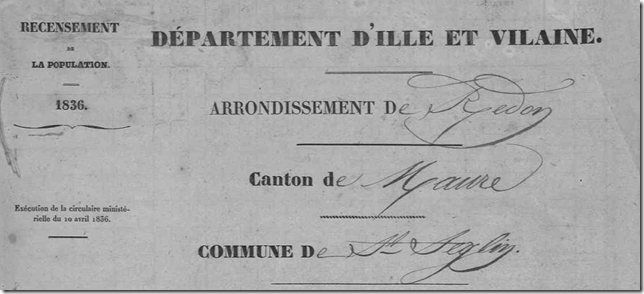 Recensement Saint-Séglin 1836