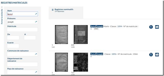 Recherche fiche matricule Morbihan
