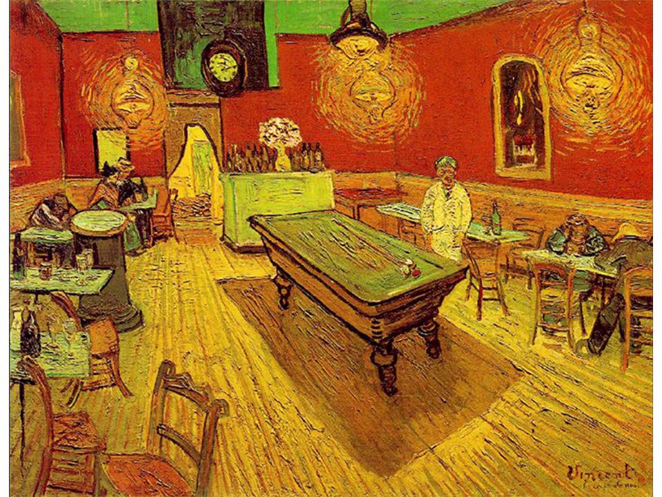 termes et notions de peinture : l'empâtement Réalisé à Arles, Place Lamartine, par Vincent Van Gogh en septembre 1888 et intitulé Le Café de Nuit Huile sur toile / 70 x 89 cm / Yale University Art Gallery