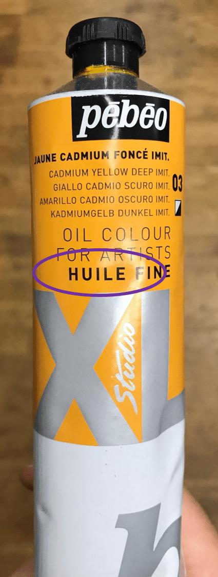 Tube de peinture à l'huile