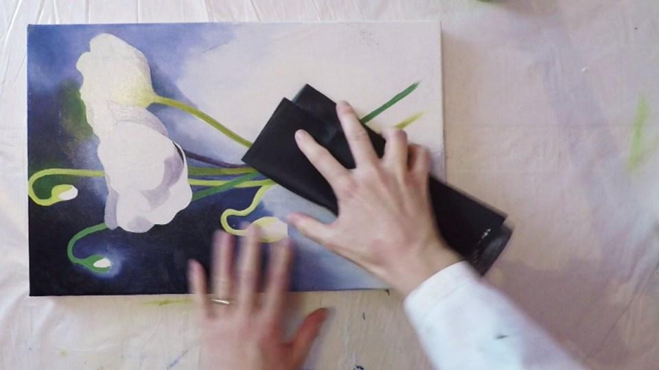 J'insiste sur le ponçage sur mes toiles peintes à l'huile.