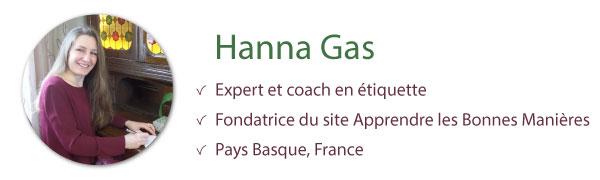 hanna gas coach étiquette bonnes manières savoir-vivre protocole usage politesse expert spécialiste auteur manuel guide professionnel