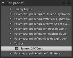 Profil de correction Lightroom