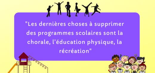 supprimer chorale éducation physique récréation