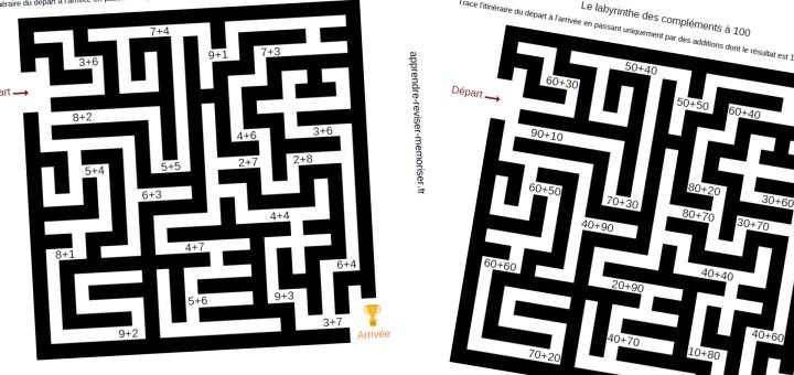 Labyrinthes des compléments à 10 et à 100 pour s'entraîner en s'amusant
