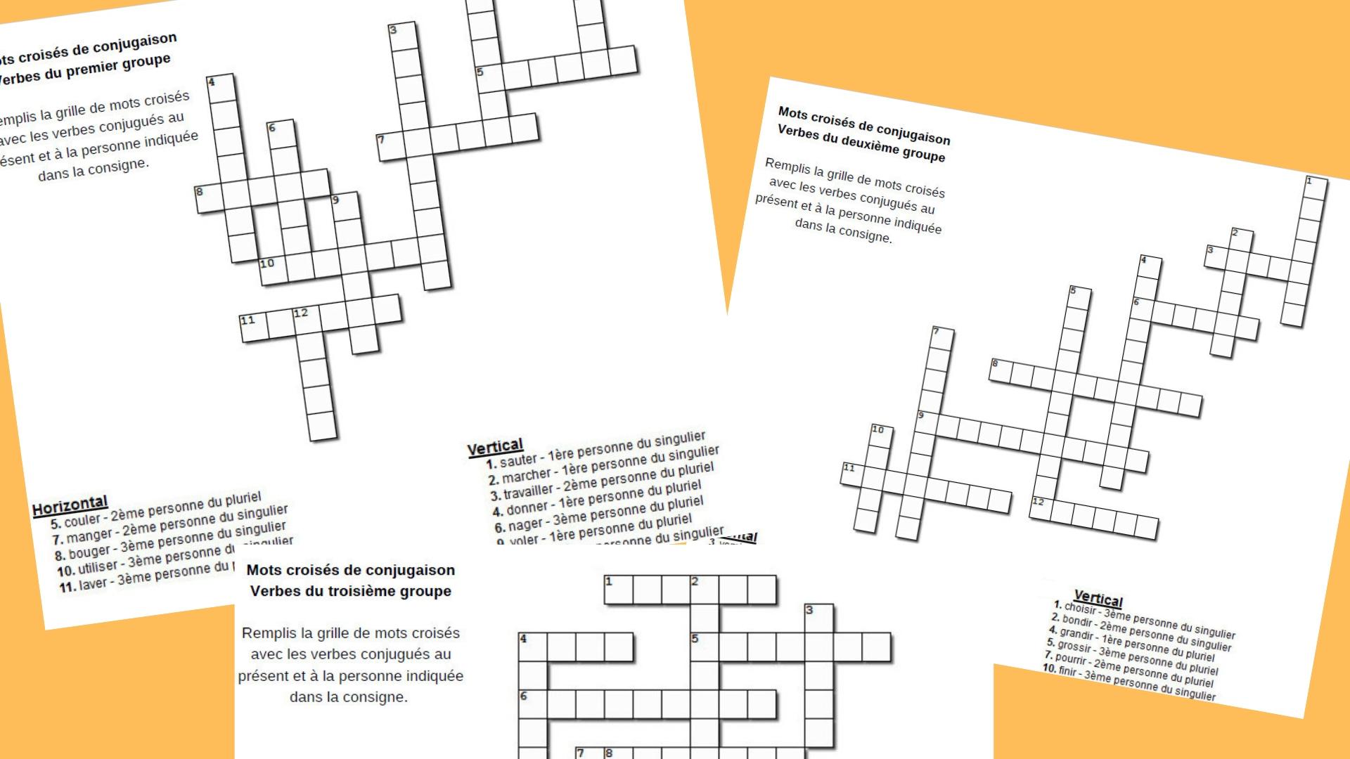 Mots Croises De Conjugaison Au Present Trois Groupes Apprendre Reviser Memoriser