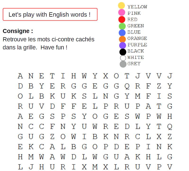 jeu mots melé anglais couleur