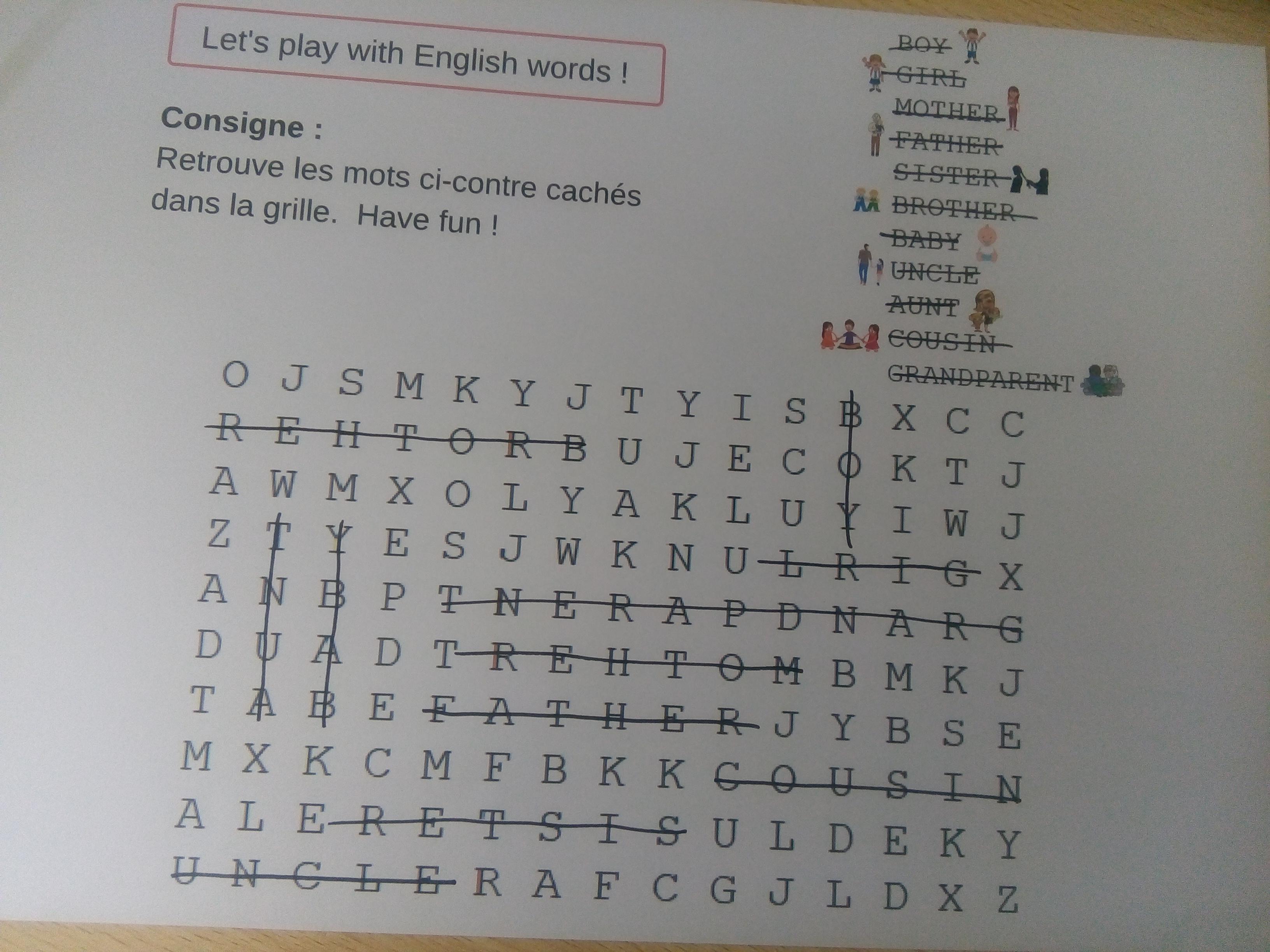 jeu travailler vocabulaire anglais