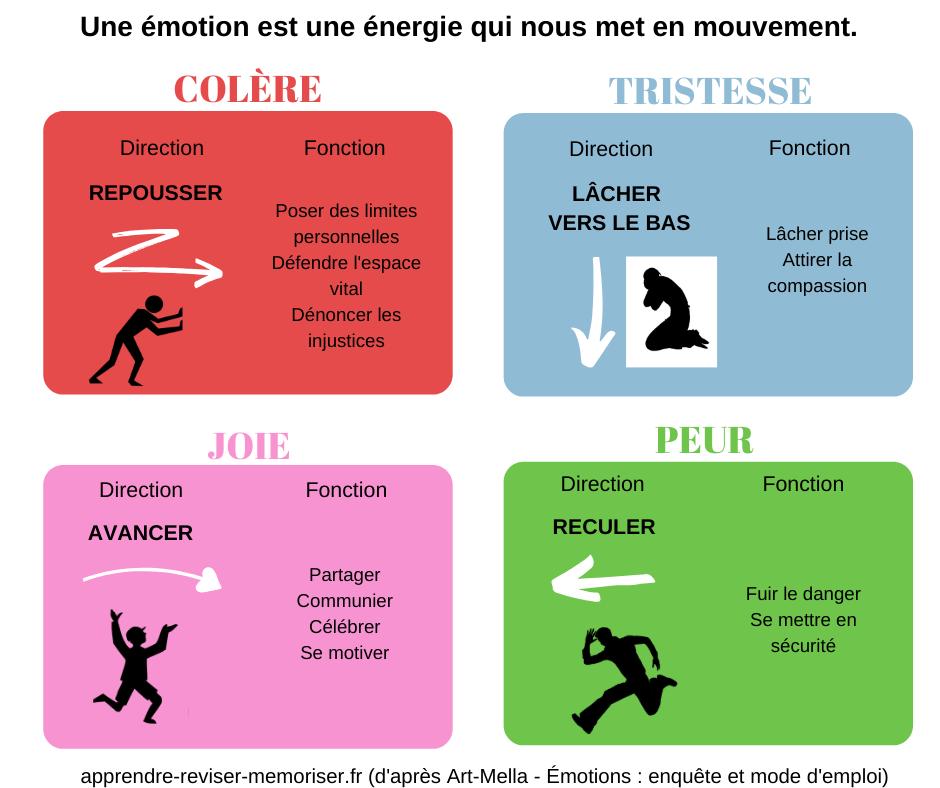 Une affiche sur les émotions pour comprendre la fonction des émotions -  Apprendre, réviser, mémoriser