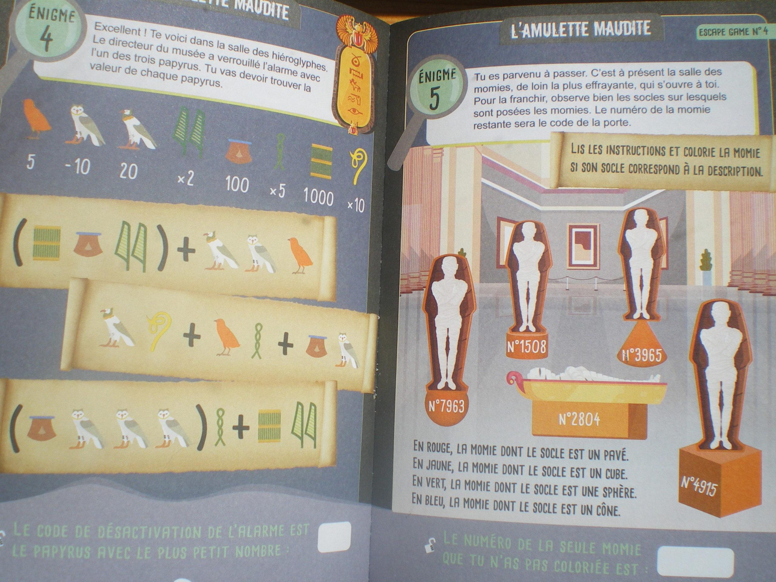 cahier exercices escape game maths enfants
