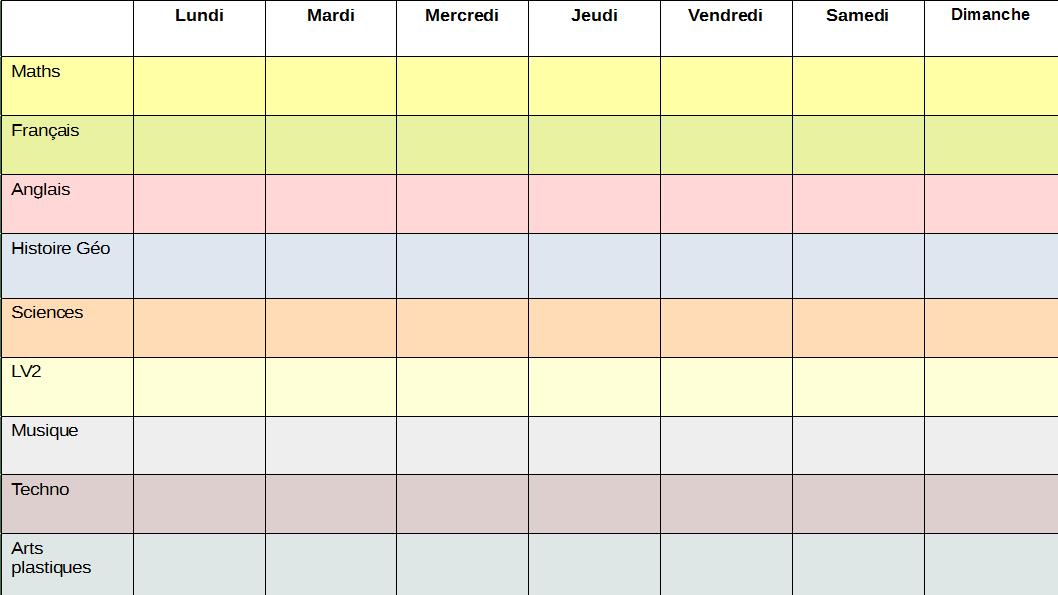 planning semaine de travail