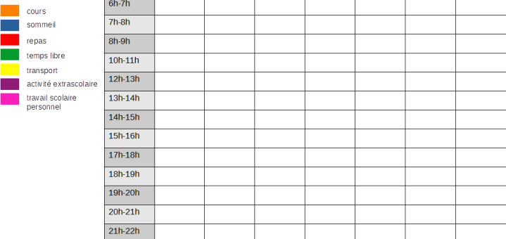 tableau organisation travail scolaire