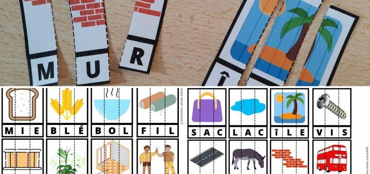 cartes lecteurs débutants mots simples