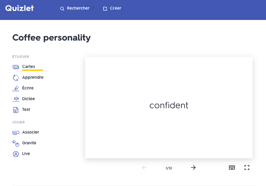 Coffee personality Quizlet