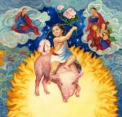 Signe astrologique. L'année du Cochon. 30x30 aquarelle