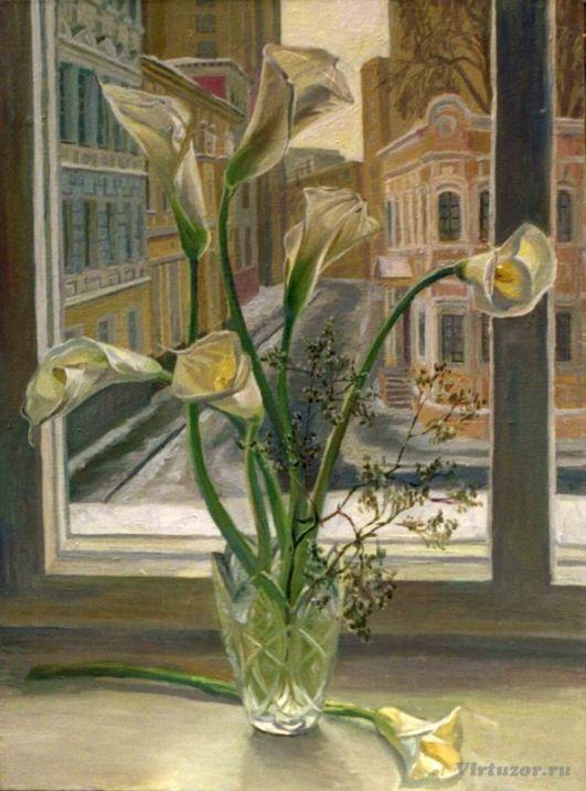 Callas. Vue de l'atelier. Moscou en hiver. 60x80 huil sur toile