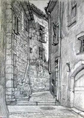 Ancienne ruelle. Florac. 30x40 dessin au crayon