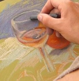 peindre un verre transparent au pastel. la forme du verre