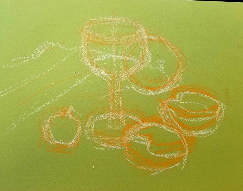 peindre un verre transparent au pastel. La construction