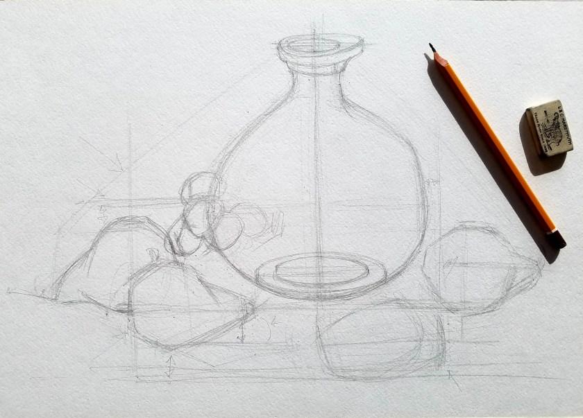 Comment dessiner correctement. La méthode de comparaison. Nature morte.. Comment mesurer